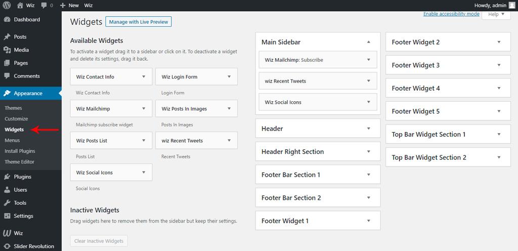 Widgets in Wiz WordPress Theme