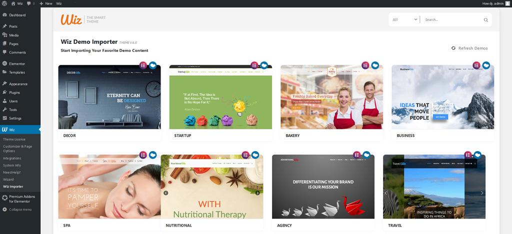 Wiz Importer in Wiz WordPress Theme Dashboard