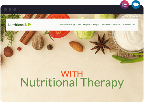 Nutritional Layout Built Using Elementor and WPBakery WordPress Page Builders