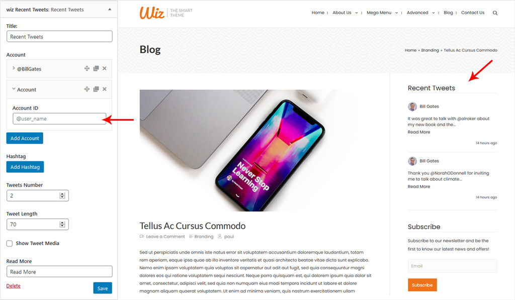 Wiz Recent Tweets Widget Settings in Wiz WordPress Theme