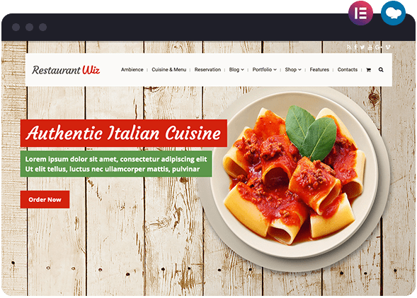 Restaurant Wiz Italian Cuisine for Elementor Page Builder and WPBakery