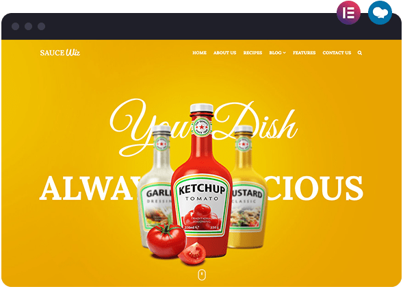 Sauce Food Based Website Layout for Elementor and WPBakery WordPress Page Builders