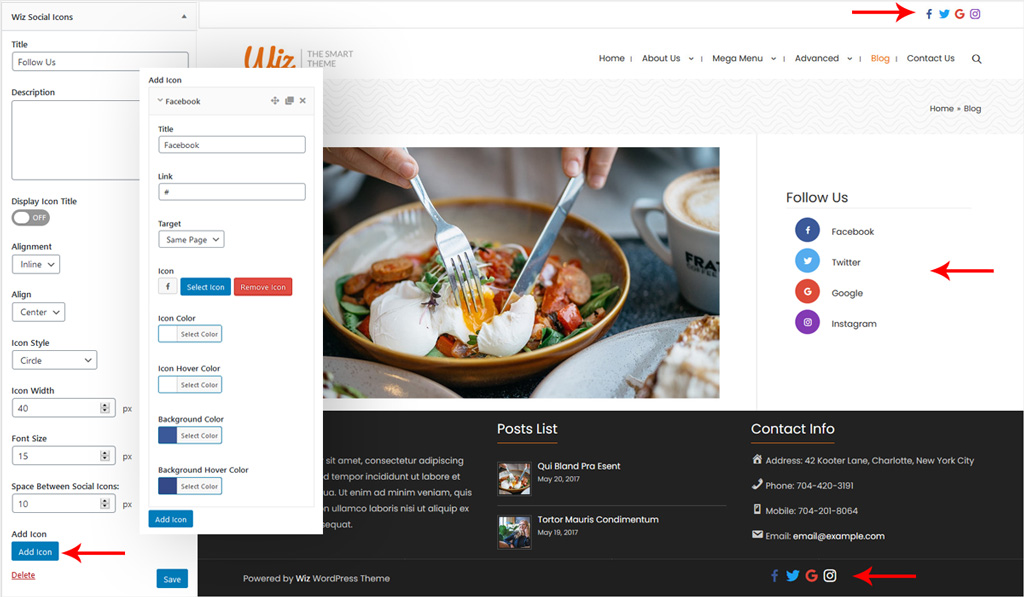 Wiz Social Icons Widget Settings in Wiz WordPress Theme
