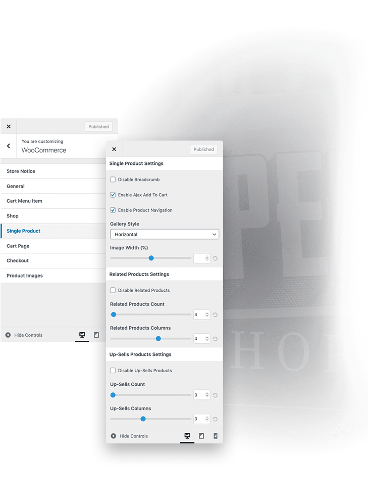 WooCommerce Options Available on Wiz The Smart WordPress Theme
