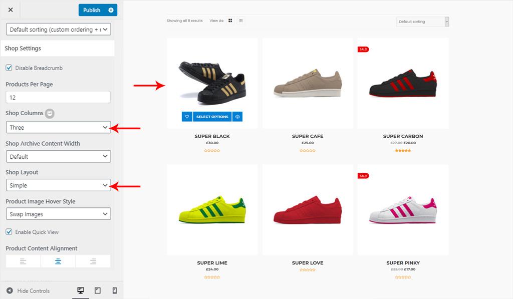 Simple Shop Layout for Wiz WordPress Theme