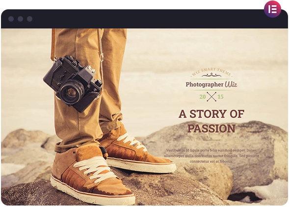 Photographer One-Page Portfolio Layout for Elementor Page Builder